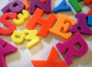 Magnetic letters on fridge
