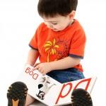 Adorable toddler boy reading an alphabet book.