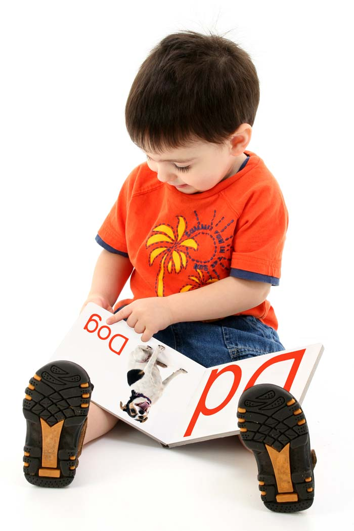 Adorable toddler boy reading an alphabet book.