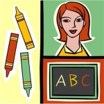 Picture of crayons, a teacher and abc.