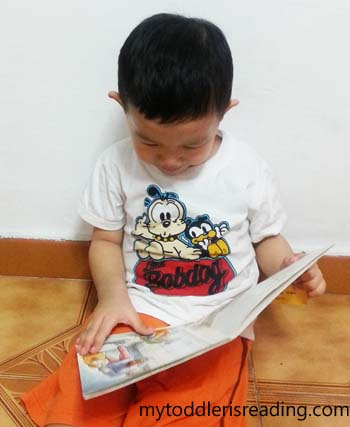 Kaden reading his take home reader from his pre-nursery class.