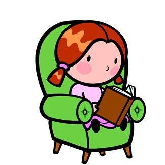 Little girl sitting on a comfy armchair and reading.