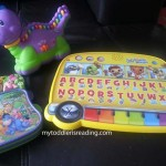 Kaden's three electronic phonics toys.