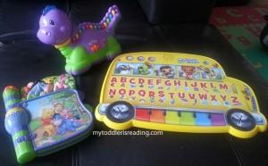 Kaden's three electronic phonics toys.
